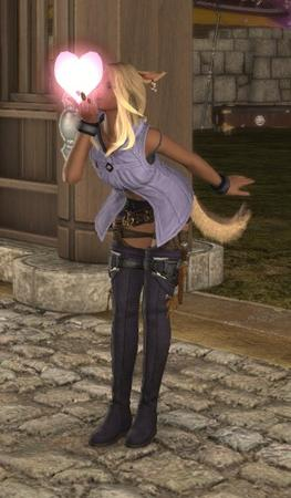 Adelina_Wyght FFXIV blonde boots miqote nekomimi screenshot shorts tail thighhighs vest // 359x615 // 84.7KB