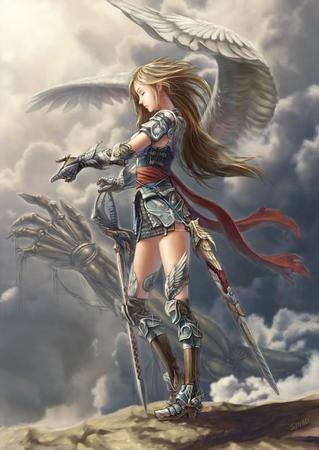 angel armor boots dnd gauntles greaves long_hair paladin sash skirt sword wings // 553x781 // 54.5KB