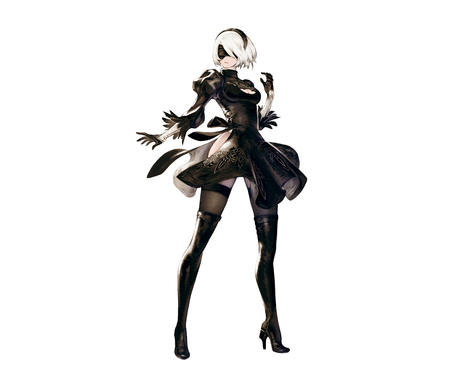 2b blindfold blonde boots dress gloves headband high_heels nier thighhighs white_hair // 6188x5308 // 4.5MB