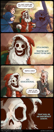 comic crossguard educational hogfather humor santa skeleton sword // 780x1901 // 435.2KB