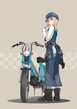 blonde blue_eyes boots gloves goggles hat moped overalls socket_wrench // 992x1403 // 357.4KB