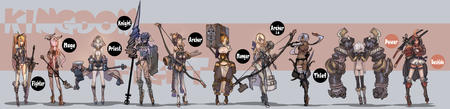 archer arrows axe bow butt cleavage fighter group helmet high_heels king_fighter knight lance mage maul monger priest samurai staff sword thief thighhighs // 4117x1000 // 1.7MB