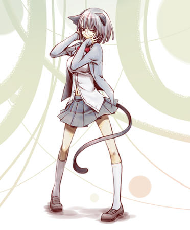 durarara glasses nekomimi pleated_skirt school_uniform short_skirt skirt sonohara_anri sweater tail // 1024x1240 // 542.7KB