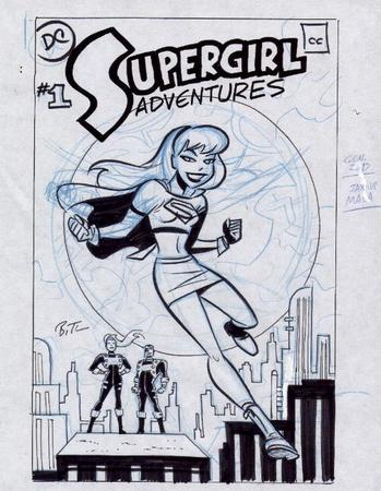 blonde boots bruce_timm bw cover gloves short_skirt sketch skirt supergirl tee-shirt // 503x649 // 72.5KB