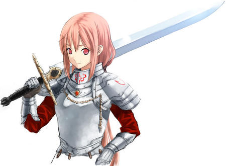armor crossguard gauntlets long_hair pink_hair red_eyes sword // 818x599 // 62.0KB