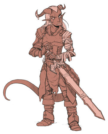 horns oversized_weapon sword tail tiefling // 800x995 // 358.0KB