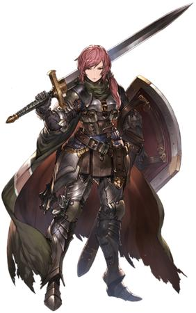 armor cape crossguard gauntlets oversized_weapon redhead shield sword // 400x639 // 320.1KB