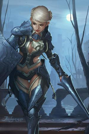 bikini_armor blonde blue_eyes braids moon shield sword // 1365x2048 // 184.7KB