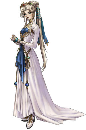 blonde blue_eyes crown dress gloves gown long_hair masamune_shirow // 730x1100 // 95.1KB