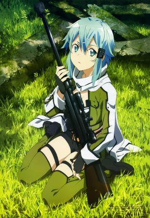 blue_eyes blue_hair boots gloves jacket rifle scarf short_shorts shorts sword_art_online thighhighs // 4071x5932 // 3.2MB