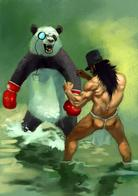 awesome barbarian boxing_gloves hat loincloth monocle panda top_hat // 600x854 // 75.0KB