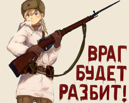 bayonette blonde blue_eyes braids gloves hat jacket rifle russia twintails // 922x735 // 255.4KB