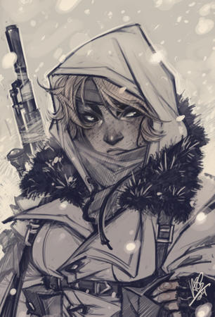 blonde bw freckles gun hood jacket rifle scarf snow // 600x883 // 362.2KB