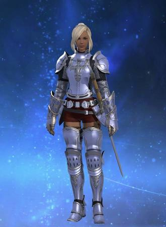 Adelina_Wyght FFXIV armor blonde dbg gauntlets greaves hyur paladin pauldrons ponytail shorts sword // 640x873 // 47.8KB