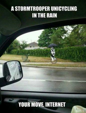 humor macro photo star_wars stormtrooper umbrella unicycle // 600x787 // 59.9KB