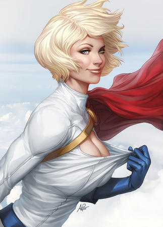 blonde blue_eyes cape cleavage dc gloves oppai power_girl // 500x696 // 124.4KB