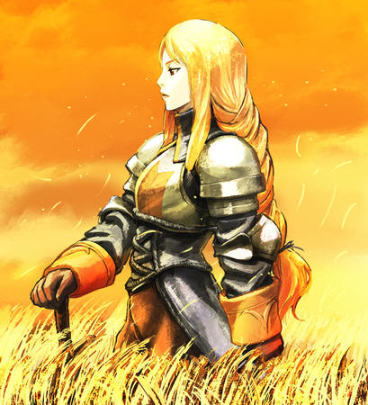 agrias armor blonde braids brown_eyes fft final_fantasy gauntlets long_hair pauldrons sword // 1000x1100 // 636.3KB
