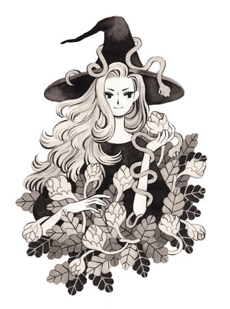 blonde bw hat long_hair snake witch // 1280x1713 // 500.8KB