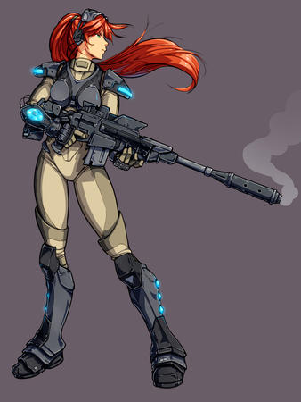 armor ghost goggles green_eyes long_hair ponytail redhead rifle starcraft // 750x1000 // 91.3KB