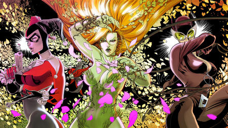 cane catwoman cleavage dc desktop gloves goggles group gun harley_quinn jumpsuit mast poison_ivy redhead whip // 1600x900 // 2.1MB