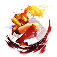 blonde boots purple_eyes rwby scarf shorts // 2834x2834 // 584.2KB