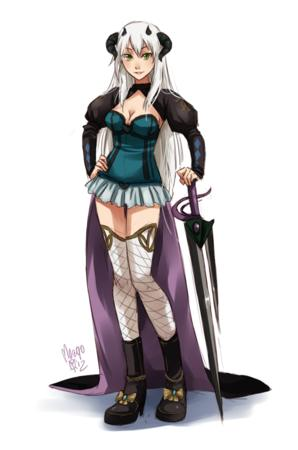 boots cleavage green_eyes horns meago short_skirt skirt sword thighhighs white_hair // 567x856 // 300.0KB