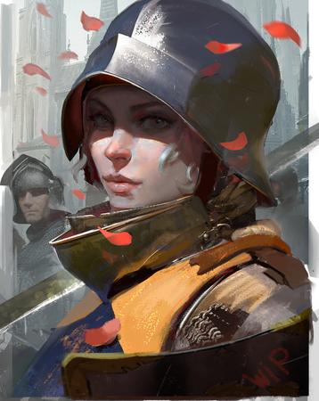 bevor blonde helmet sallet shield sword // 2248x2828 // 6.4MB