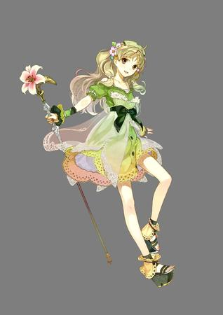 atelier brown_eyes dress flower sandals staff // 2480x3507 // 771.8KB