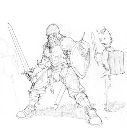 armor boots bw greaves helmet pauldrons shield sketch sword // 800x837 // 281.2KB