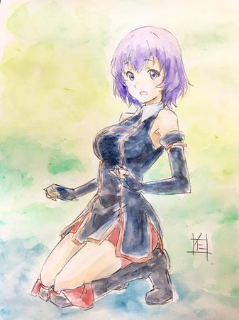 boots dress gloves hai_to_gensou_no_grimgar purple_eyes purple_hair shihoru short_skirt shorts skirt // 766x1024 // 185.9KB