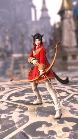 FFXIV bard boots bow braids brunette coat glasses miqote nekomimi ponytail screenshot // 1080x1920 // 2.8MB