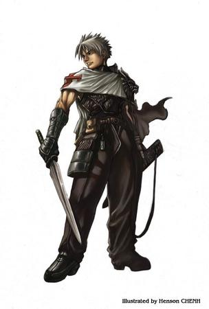 boots gauntlets gray_hair sword // 507x750 // 33.1KB