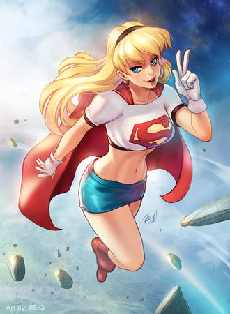 blonde blue_eyes boots cape dc gloves reiq short_skirt skirt supergirl tee-shirt // 2458x3353 // 3.8MB