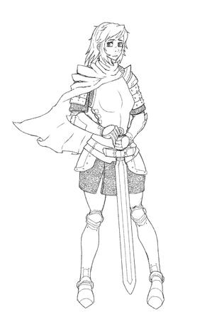 armor bw cape crossguard gauntlets greaves short_skirt sketch skirt sword // 1896x2856 // 1.1MB