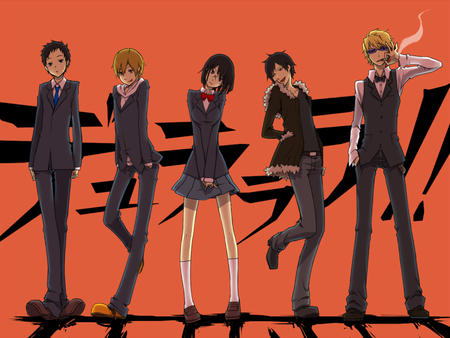 blonde bowtie cigarette durarara glasses group jacket oppai pleated_skirt school_uniform shizuo short_skirt skirt sonohara_anri sunglasses sweatshirt vest // 1000x750 // 477.1KB
