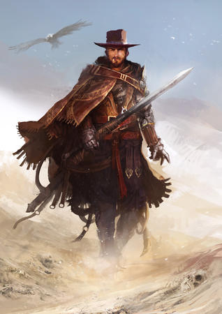 beard cigar gauntlets hat man_with_no_name poncho sword // 1000x1414 // 714.1KB