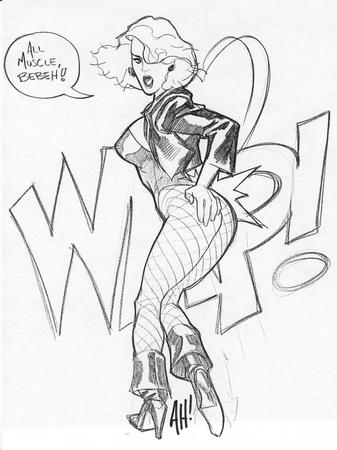 adam_hughes black_canary blonde boots butt bw dc fishnet jacket sketch // 792x1059 // 313.1KB
