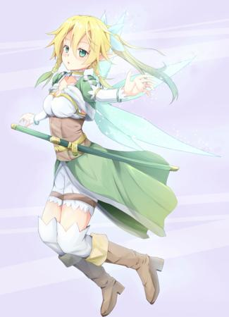 boots braids cleavage elf fairy green_eyes katana lyfa ponytail shorts sword sword_art_online thighhighs wings // 1000x1384 // 1.3MB