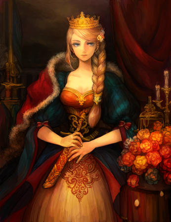 blonde blue_eyes braids cape crown dagger dress // 1400x1820 // 1.3MB