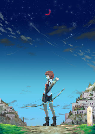 arrows boots bow braids gloves hai_to_gensou_no_grimgar redhead shorts thighhighs vest yume // 1403x1984 // 1.1MB