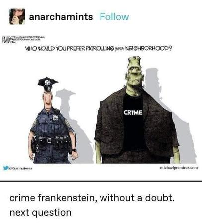 comic crime frankenstein humor police political // 640x710 // 33.6KB