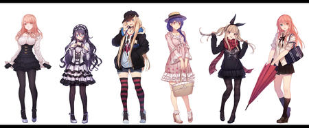 dress gloves group hat heterochromia pink_hair purple_hair scarf school_uniform shorts skirt sweater thighhighs twintails umbrella vest // 6000x2480 // 4.0MB
