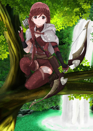 bow braids cape gloves hai_to_gensou_no_grimgar redhead shorts thighhighs waterfall // 1500x2117 // 2.4MB