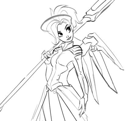 blonde bw halo mercy overwatch sketch staff wings // 1230x1087 // 364.7KB