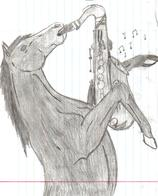 awesome drawing horse pencil saxophone sketch // 867x1075 // 289.8KB