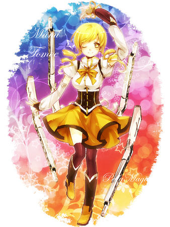 blonde boots dress gloves hat puella_magi_madoka_magica rifle thighhighs tomoe_mami twintails wink // 600x800 // 222.2KB