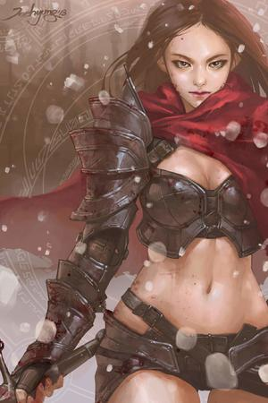 bikini_armor brown_eyes bruenette gloves scarf short_shorts shorts sword // 1365x2048 // 178.8KB