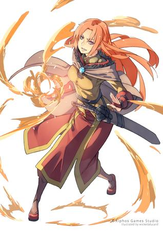 cape crossguard fire long_hair long_skirt purple_hair redhead skirt sword // 600x849 // 378.9KB