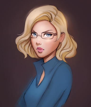 blonde blue_eyes glasses sketch // 750x879 // 318.6KB