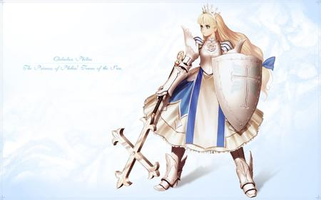 armor blonde boots desktop dress gauntlets green_eyes long_hair shield // 1920x1200 // 447.9KB